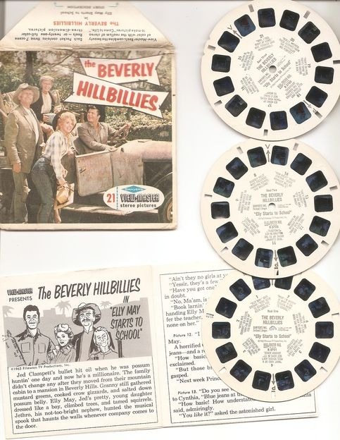 "B570 Beverly Hillbillies - Sawyers    Complete set   No Red - see photos     From Back of Packet Cover    It all started when Jed Clampett shot at a possum and his bullet struck oil. Money rolled in like relatives in watermelon season and his kinfolks told him, ""Move out to Californy whar th..."