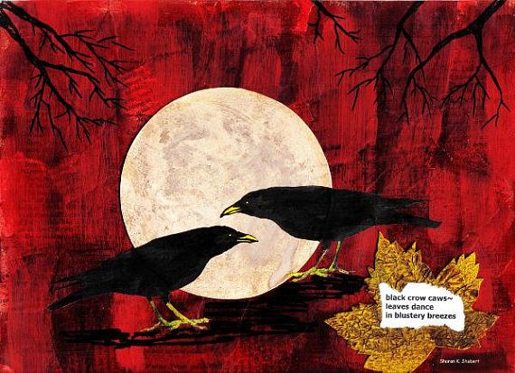 Crows Painting Mixed Media Nature Haiku Autumn Full Moon