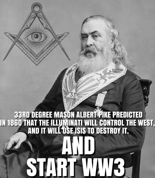 Albert Pike why are there no discussions on this person after all he did plan 3 world wars 2 have already happened and we are in the formation of the 3rd. wake up!