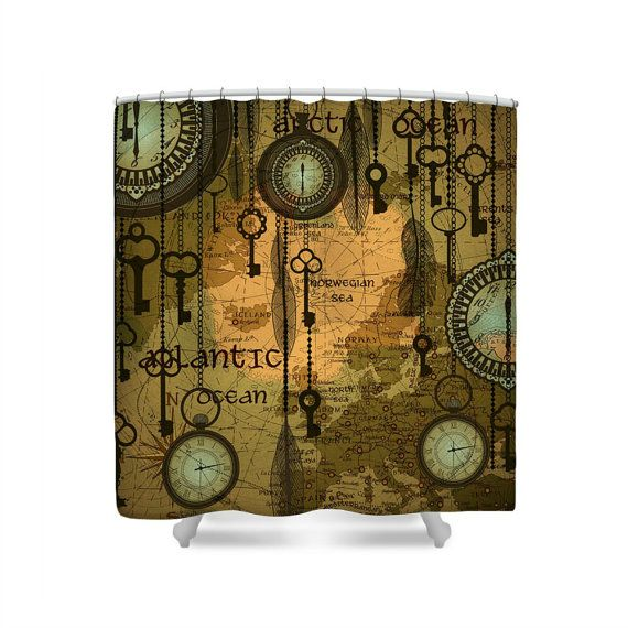 Hey, I found this really awesome Etsy listing at https://www.etsy.com/listing/261236450/steam-punk-shower-curtain-watches-keys