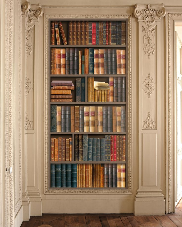 17 best images about trompe l 39 oeil bookcases on pinterest for Bookshelf mural wallpaper