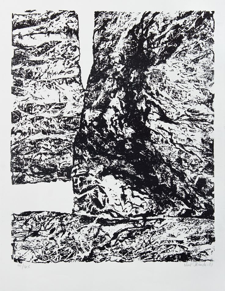 Knut Rumohr  Vestlandsfjord #58 litografi, 56x46 cm
