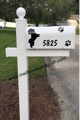 Bichon Graphic Silhouette white mailbox post