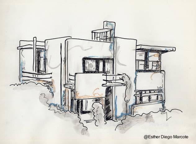 Boceto en perspectiva de una casa de dise o moderno for Casa moderna 4279