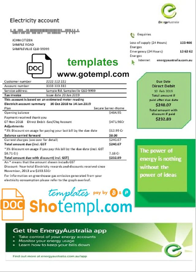 Australia Energy Proof Of Address Utility Bill Template In Word Format Bill Template Utility Bill Templates