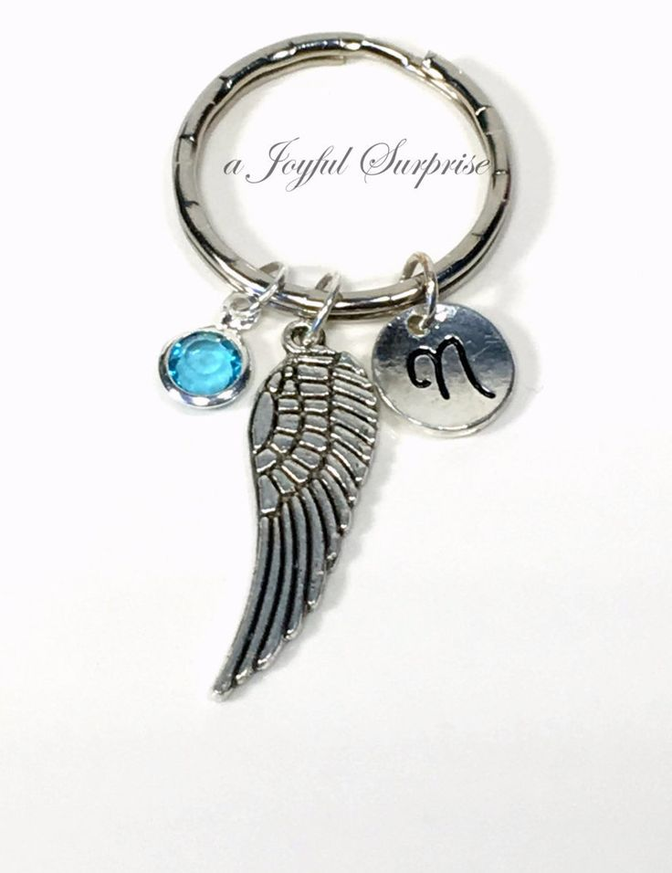 SALE - Wing Keychain, Angel Wing Key Chain, Feather Keyring, Memorial Gift, Graduation Gifts, Sympathy Jewelry letter initial birthstone 22 by aJoyfulSurprise on Etsy