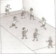 Jagerbal - lees alle regels op www.activitheek.nl Verdeel de kinderen in twee teams: team A en team B en wijs per team een jager aan. De teams gaan in de velden A en B staan. De jager van team A gaat in het achtervak van team B en de jager van team B gaat in het achtervak van team A staan. Dan gooi jij de bal op de middellijn op en het team dat de bal als eerste heeft mag beginnen. Dit team probeert de kinderen van het andere team met de bal af te gooien.