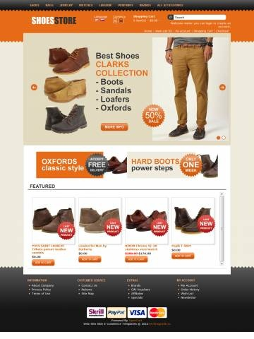 "Shoes Store OpenCart Theme Template is specially designed for Woman`s and Man`s Shoes. There are Boots, Heels, Sandals, Sneakers & Athletic, Loafers, Oxfords. Garmonical colors combination of orange, black  and beige. Modern zigzag border. Accordion Slogan ""Best decorate our store are our products"". It is very nice with its clean and professional look."