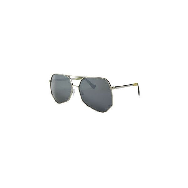 Grey Ant Megalast Large Aviator Sunglasses (6 050 ZAR) ❤ liked on Polyvore featuring accessories, eyewear, sunglasses, silver, metal frame glasses, hexagon sunglasses, grey ant sunglasses, aviator sunglasses and double bridge sunglasses