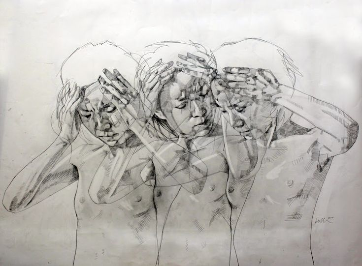 Layering of the same figure but in different positions are overlaid on top of each other but shifted and not directly on top. Movement is created. (Simon Birch)