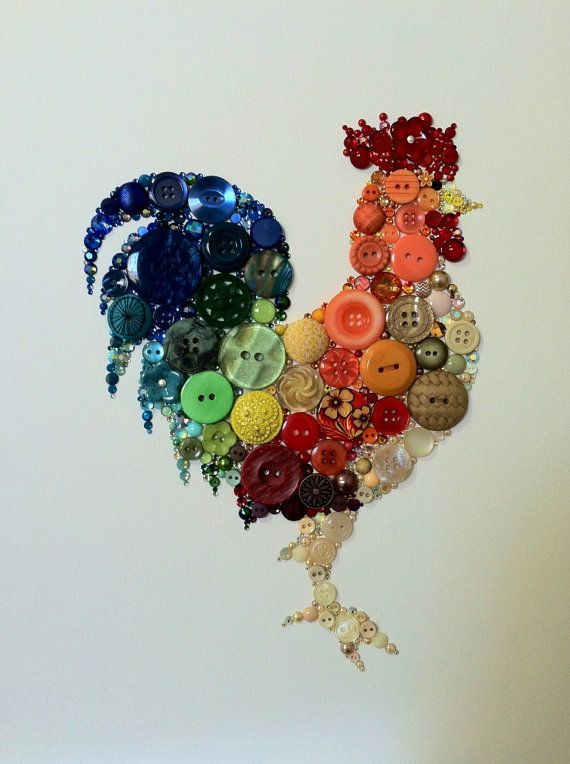 ... Kitchen Rooster! Made with buttons and Swarovski Crystals by Belle Papier [per previous pinner]