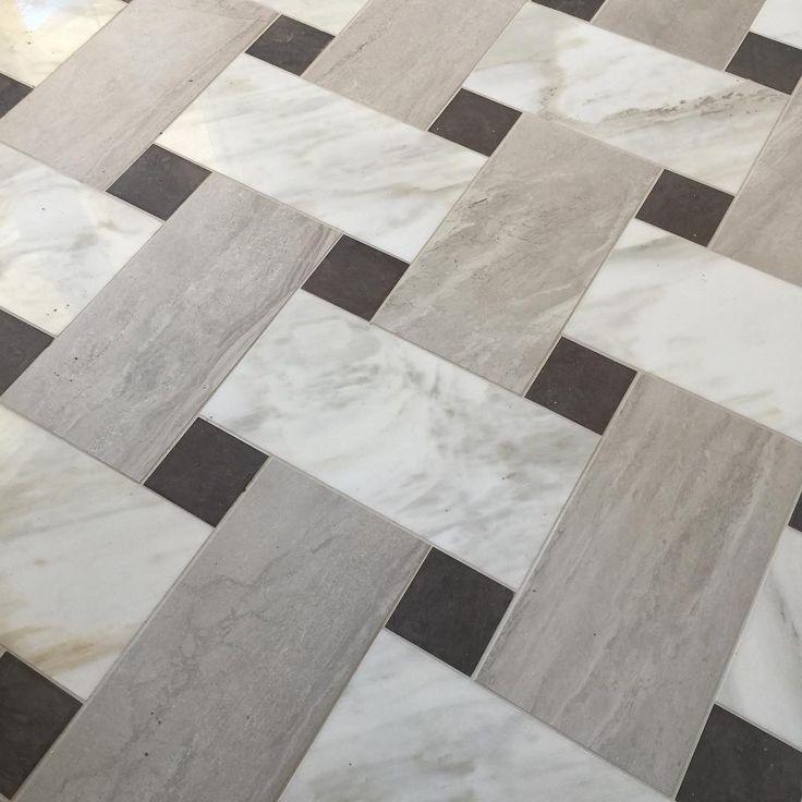 Basketweave marble & limestone floor at Shea's Canyon Grove neighborhoods in Escondido. Opening in just over 2 weeks! #modelhome #design #flooring #interiordesign #limestone #marble #floor #basketweave