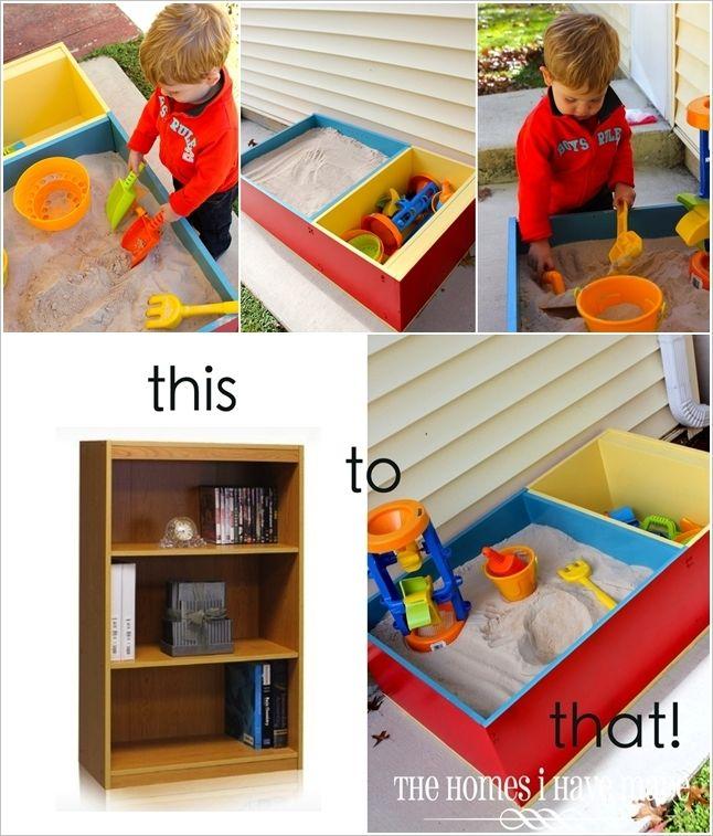 Bookshelf turned sandbox- what a great idea!!