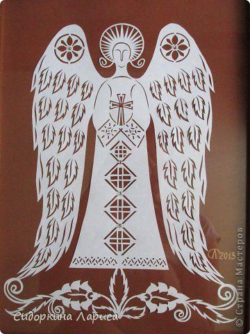 Картина панно рисунок Вырезание ангел Бумага