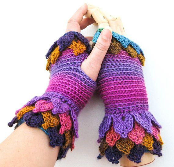 Crochet Wool Fingerless Gloves  Dragon Scale Wrist Warmers
