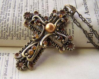 Религиозные Крест Ювелирные Украшения Старинных Креста Ожерелье В Викторианском Стиле Нео Старину Латунь Большой Коренастый Ожерелье