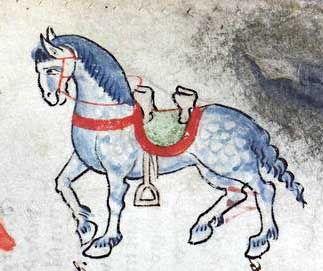 Seltenere Darstellung eines Pferdes ohne Reiter - hier lassen sich Sattelzeug und Zaumelemente gut erkennen, und wiederum eine 'Äpfelung' der Fellfarbe. Bildquelle: Der welsche Gast. Thomasin von Zerclaere. Cod. Pal. germ. 389. Bayern, um 1256, fol. 115r