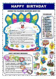 English worksheet: HAPPY BIRTHDAY - VOCABULARY