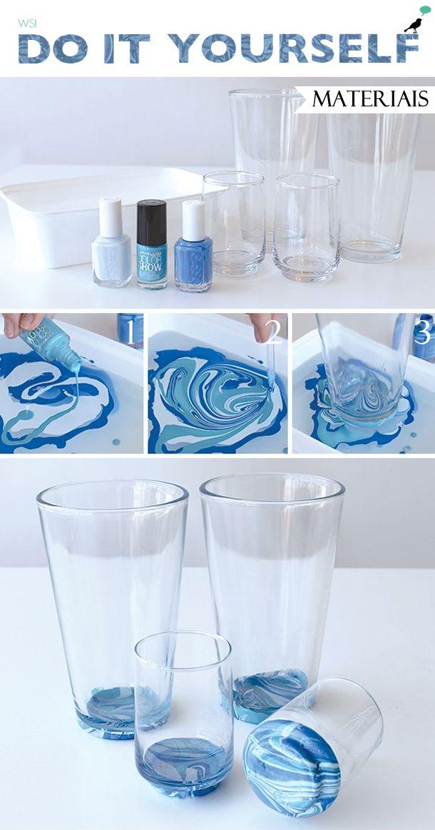 copo pintado com esmalte, customização copo, decoração casa, faça você mesmo, diy, glass nail polish decor
