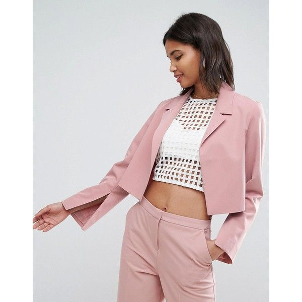 ASOS Mix & Match Crop Blazer (1.361.940 VND) ❤ liked on Polyvore featuring outerwear, jackets, blazers, pink, tall blazer, cropped jackets, prom jackets, prom blazers and pink cropped jacket
