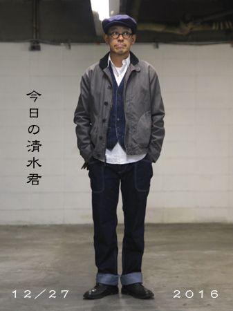 ジャケット・シャツ(RRL) ベスト(Ralph Lauren)  パンツ(Onomichi Denim Project) ハンチング(Yohji Yamamoto)  シューズ(Trickers) メガネ(EFFECTOR)