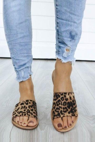 Single Band Animal Print Sandals Slides-Leopard Print