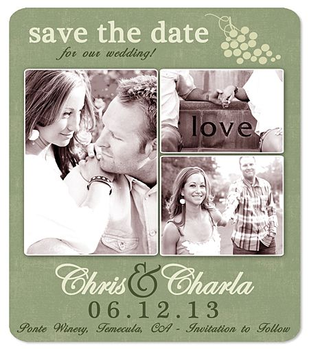 Image detail for -Wine Country Grape Save the Date Magnets