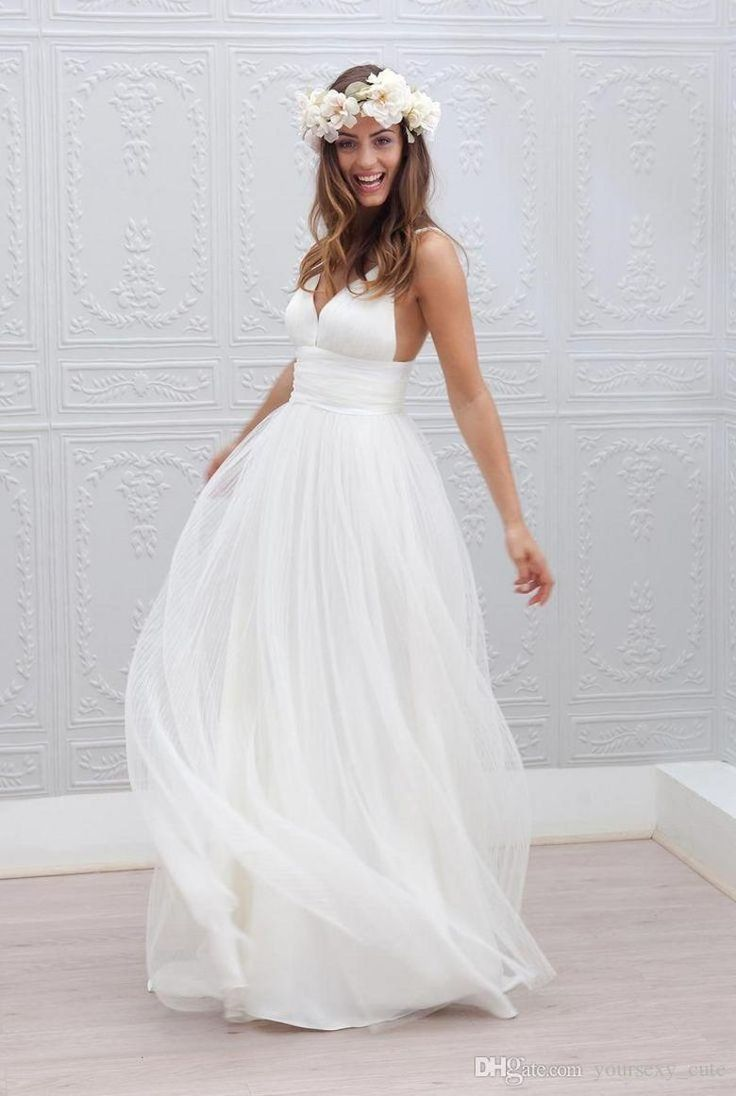 Plus Size Beach Wedding Dresses 2015 Cheap A Line Spaghetti Backless Sexy Pleats Sweep Train Formal Wedding Gowns