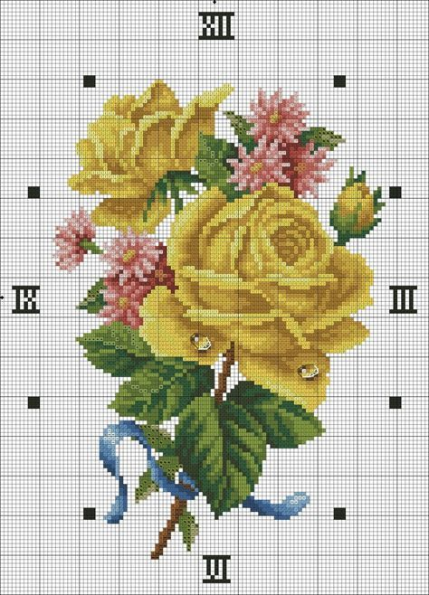 Yellow roses cross stitch chart