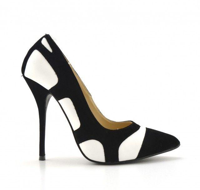 Pantofi dama Elyo negri cu alb, toc de 9 cm la pretul de 99 RON. Comanda Pantofi dama Elyo negri cu alb, toc de 9 cm de la Biashoes!