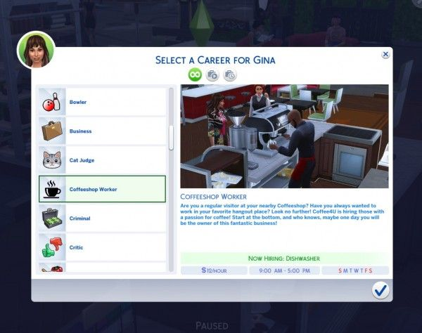 Mod The Sims Coffeeshop Worker Career By Satira Sims 4 Downloads Sims 4 Jobs Sims 4 Sims 4 Gameplay
