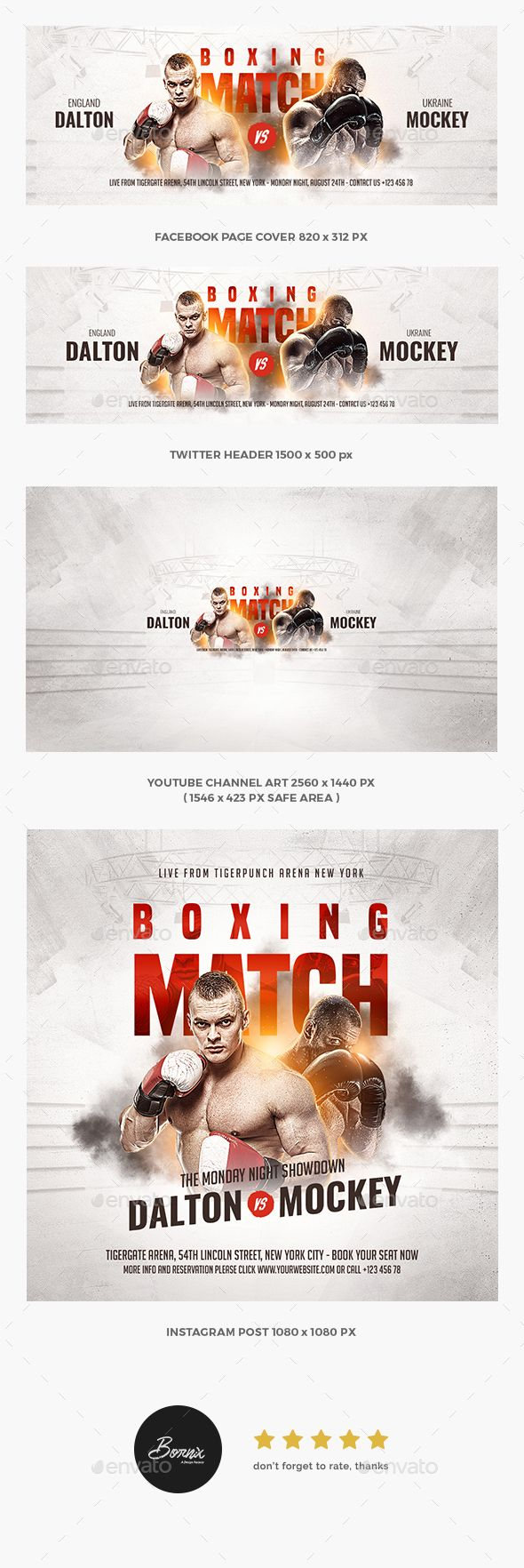 Boxing social media templates for Photoshop, only on GraphicRiver #graphicriver #social #media #templates #facebook #page #cover #twitter #header #youtube #channel #art #instagram #feeds #post #banner #web #website #promotion #sport #boxing #boxer #fighting #mma #kickboxing #fighter #professional #fitness #training #ads #advertisements
