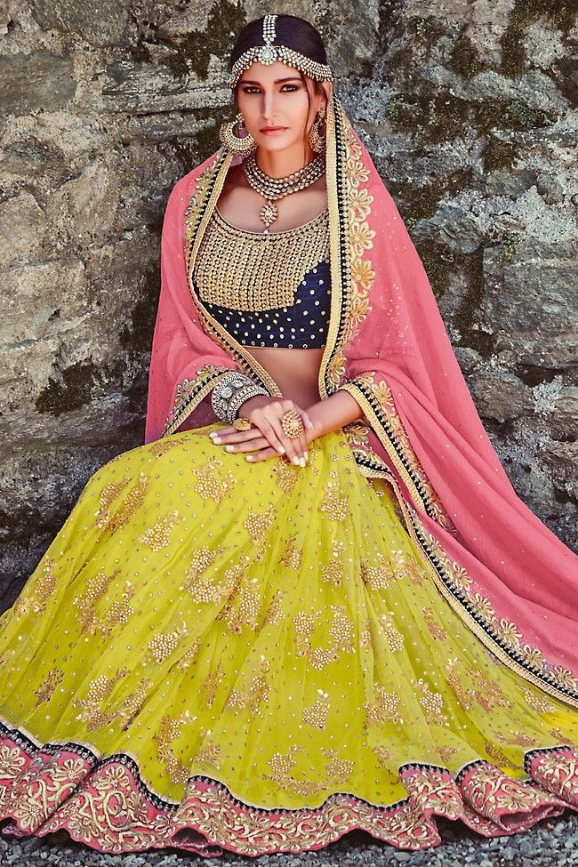 Mehendi Green With Pink Netted 3 Piece Lehenga Choli Online ,Veeshack.com | Fashion for the World - 2