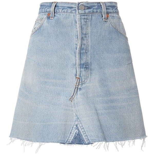 Re/Done Women's High-Rise Mini Skirt (835 BRL) ❤ liked on Polyvore featuring skirts, mini skirts, bottoms, denim, short mini skirts, high waisted short skirts, blue skirt, high-waist skirt and mini skirt