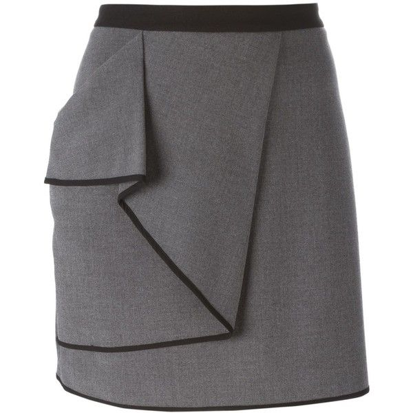 Armani Jeans Wraparound Skirt ($161) ❤ liked on Polyvore featuring skirts, grey, wraparound skirt, gray skirt, wrap skirt, grey skirt and wrap around skirt