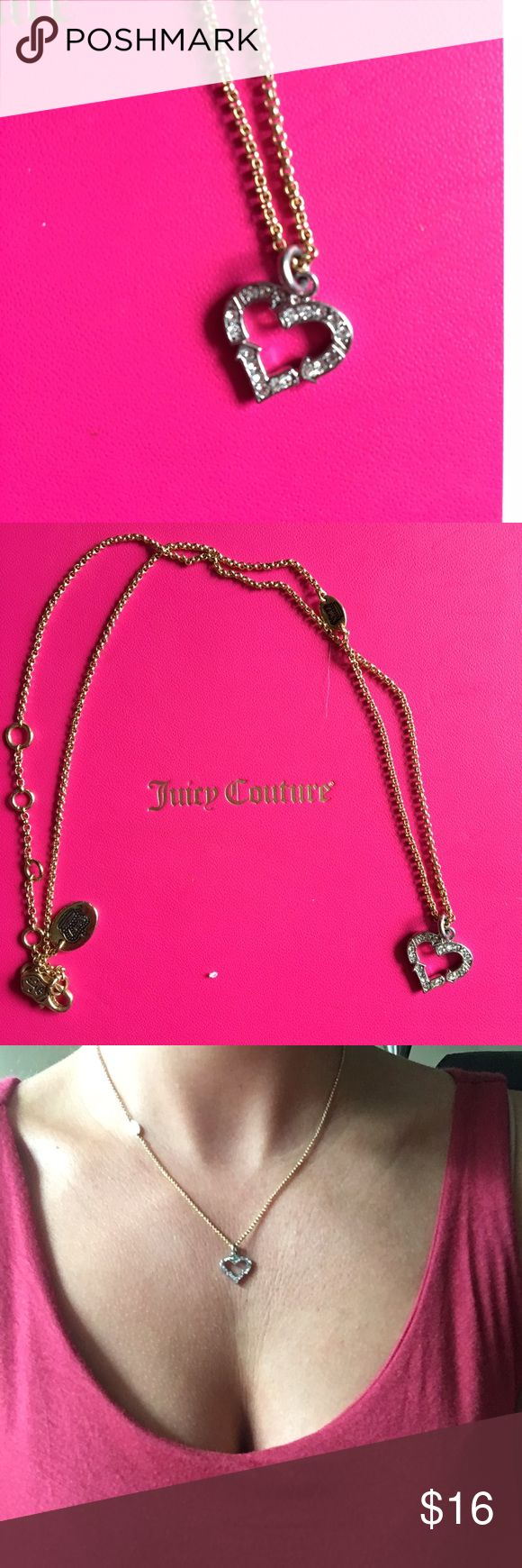 Recycle Heart Juicy Couture necklace Recycle heart with rhinestones. Gold necklace with silver charm, goes great together! Never been worn, in original packaging! Juicy Couture Jewelry Necklaces