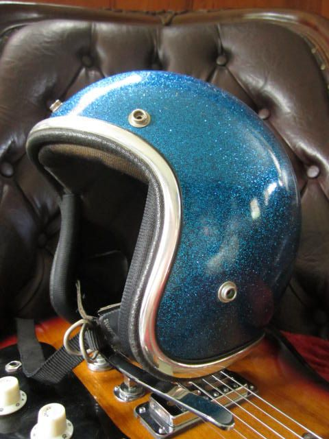 KID/ ADULT Blue Sparkle Scooter Helmet...Vintage 1960's Super Chic Motorcycle Accessory. $150.00, via Etsy. ~ Blue and old school!