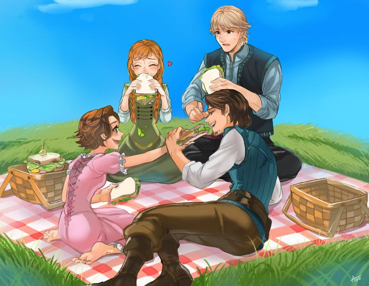 Cousins' Picnic!!! XD <3 Kristoff and Anna & Eugene and Rapunzel!!!!!