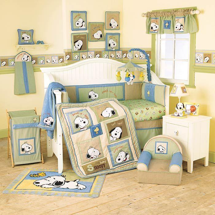 Too cute!  NurseryBabyBedding.com - Peek A Boo Snoopy Baby Crib Bedding Set by Lambs & Ivy