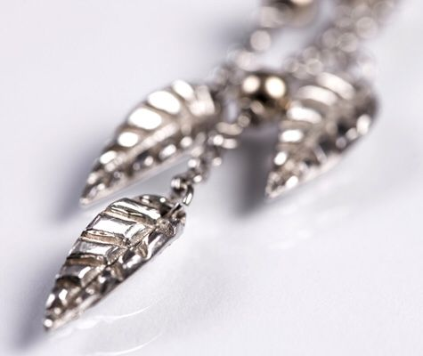 Designed and made by Nuit Nuit -Three leaf fine silver Necklace