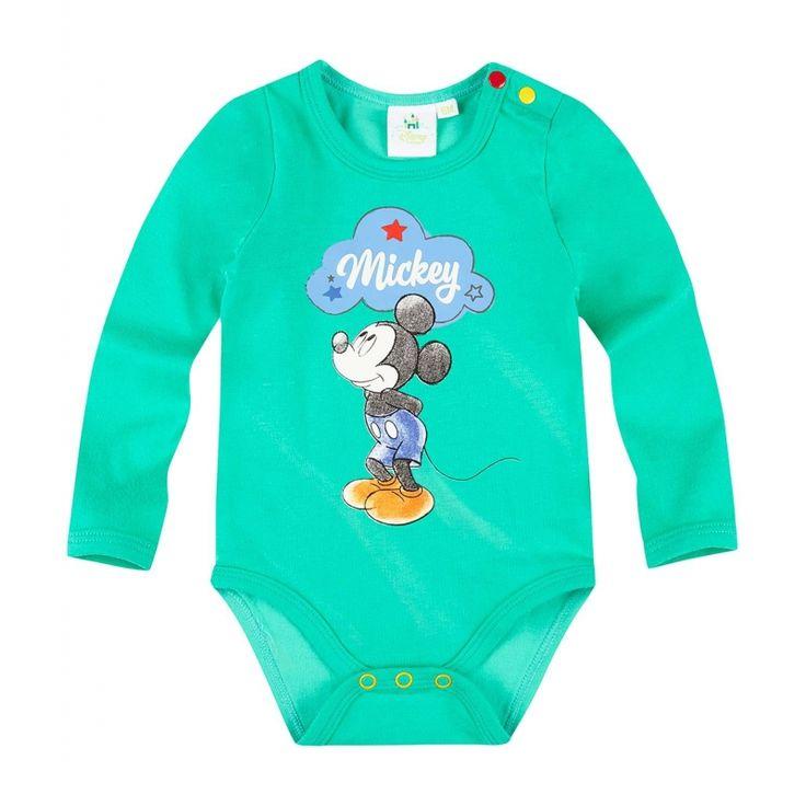 Mickey e alaturi de copilul tau pentru a-i face ziua mai frumoasa!  body cu maneca lunga cu imprimeu cacuciucat frontal si print cauciucat iesit in relief; inchidere cu capse intre picioare si la baza gatului; marginile sunt usor elastice pentru un comfort optim; material de calitate din bumbac 100%, (grosime 160 gsm); se spala pe dos la 40 gr. Celsius; articol produs cu licenta Disney Mickey.