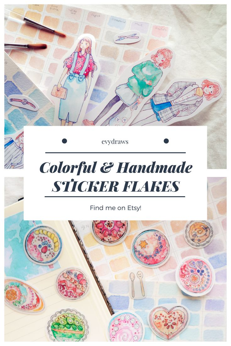 Handmade gifts for stationery addicts!  My watercolour stickers now come as handmade sticker flakes. Perfect to decorate your journal, diary, planner, or as a gift!
