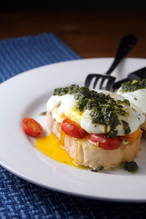 Caprese egg on toast, AKA fresh mozzarella, tomatoes and basil - plus an egg. #breakfast