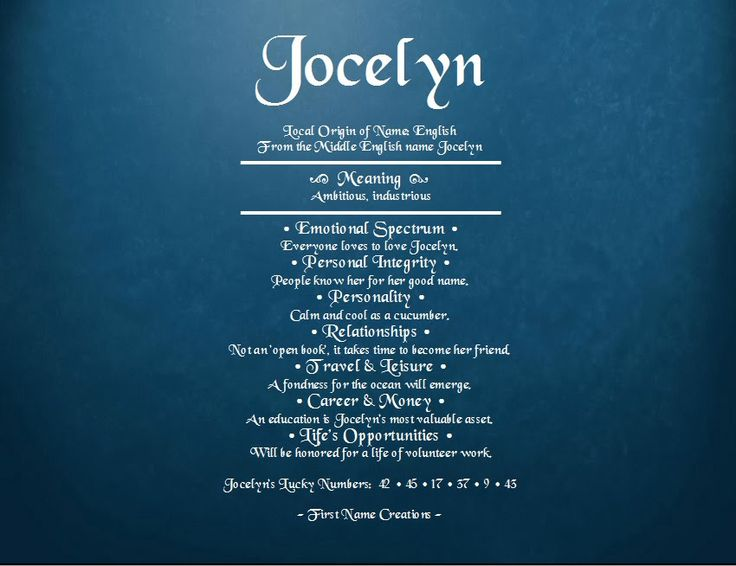 Jocelyn Name Meaning - First Name Creations