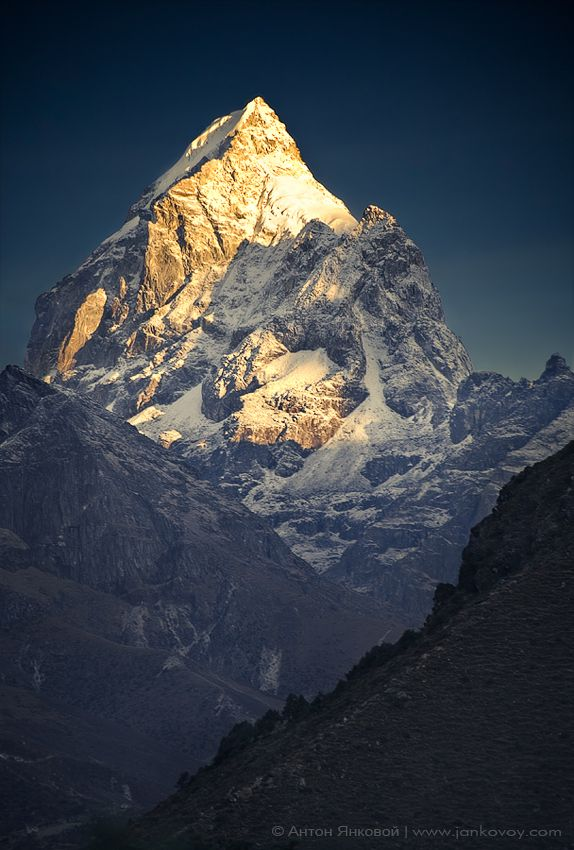 View of Pharilapche peak from Tengboche, Himalayas, Nepal.