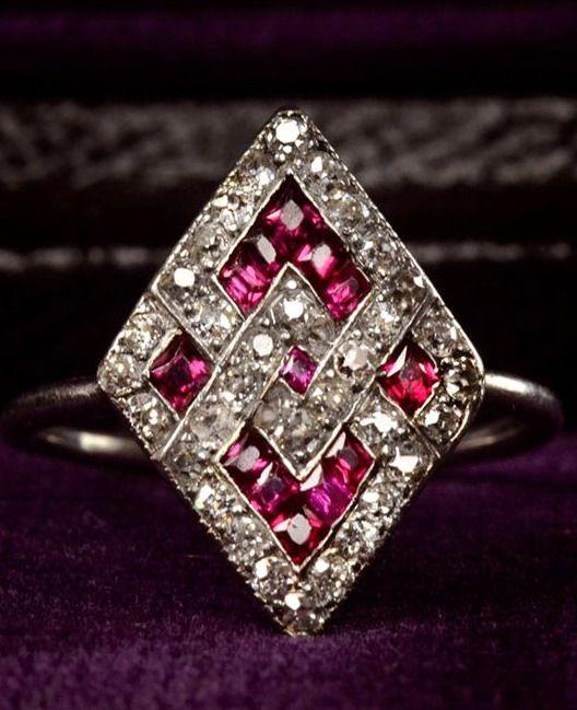 1920s Art Deco Ruby and Diamond Ring, Platinum