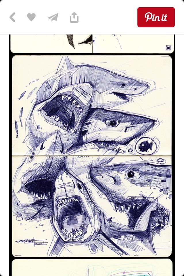 Blue shark drawing