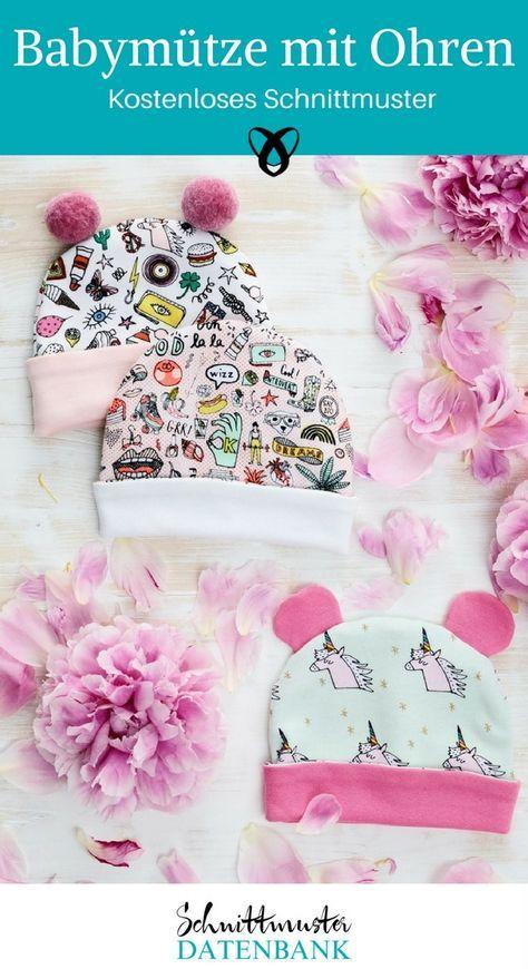 Muetze mit Ohren Babymütze nähen Schnittmuster kostenlos Geschenk zur Geburt Mütze mit Bommeln Nähen fürs Baby zur Geburt