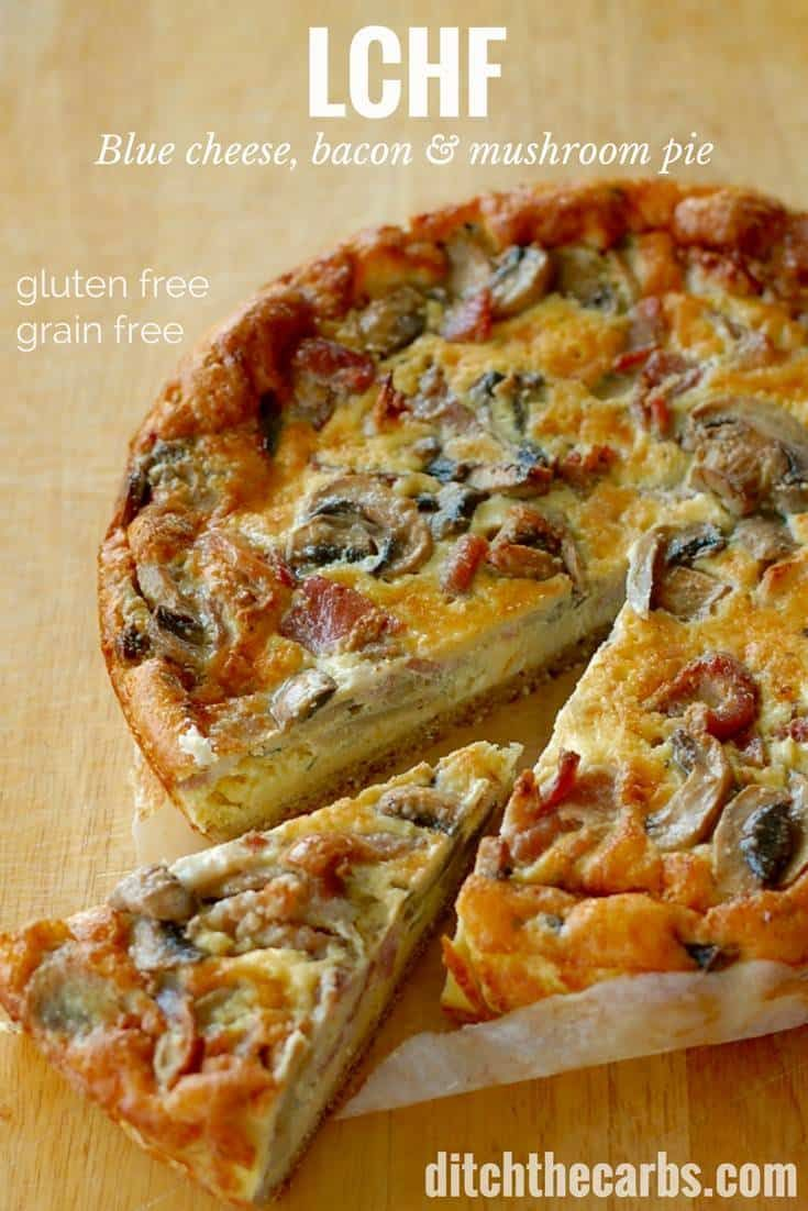 3g net carbs per slice. This is the most incredible tasting pie I have ever made. Blue cheese, bacon, and mushroom pie. It's healthy, low carb, gluten free, and grain free. | ditchthecarbs.com via @ditchthecarbs