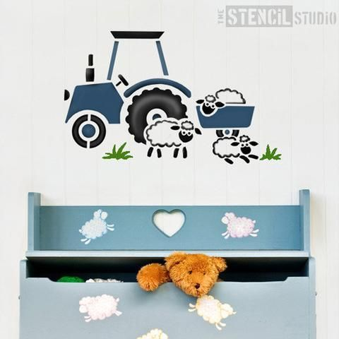Tractor and Sheep stencil from The Stencil Studio Ltd - Size M. For all those budding tractor drivers, this characterful stencil is ideal for a child's bedroom wall. Looks great in blue, or your child's favourite colour! With cute sheep included, you could create a whole farmyard with farm animal stencils from thetencilstudio.com.